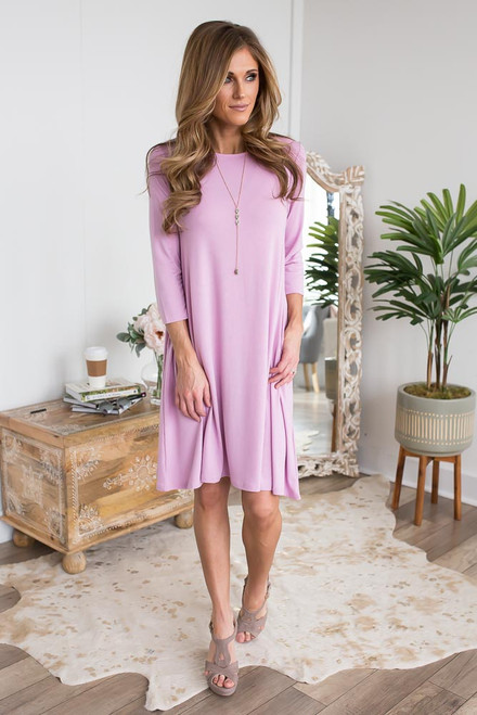 Solid T-Shirt Pocket Dress - Sweet Lilac - FINAL SALE