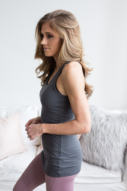 Solid Racerback Tank Top - Charcoal - FINAL SALE