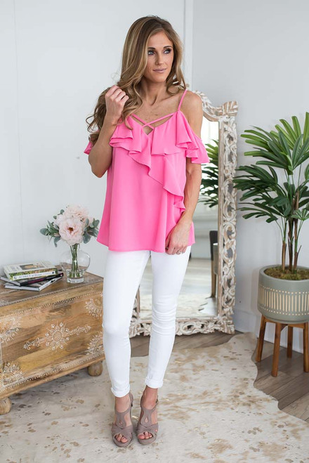 Cold Shoulder Ruffle Detail Top - Neon Pink