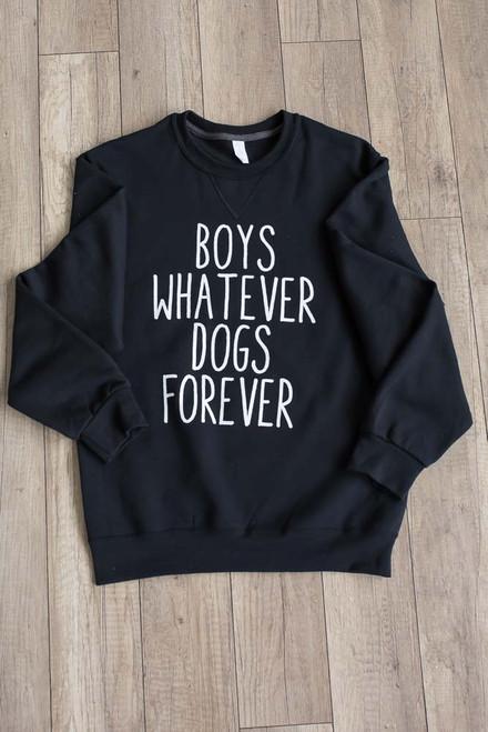 Boys Whatever Dogs Forever Sweatshirt - Black