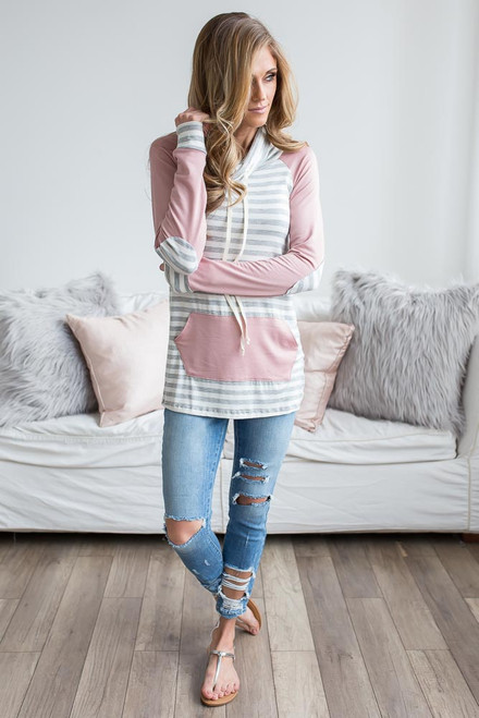 Cowl Neck Striped Contrast Top - Rose/Grey/Ivory