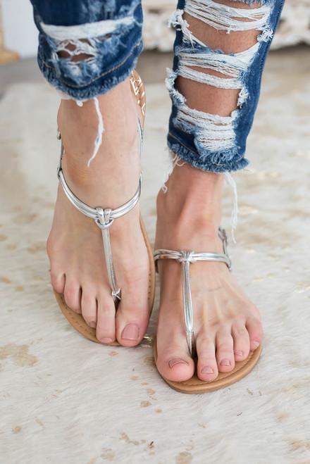 Newport Beach Thong Sandals - Silver