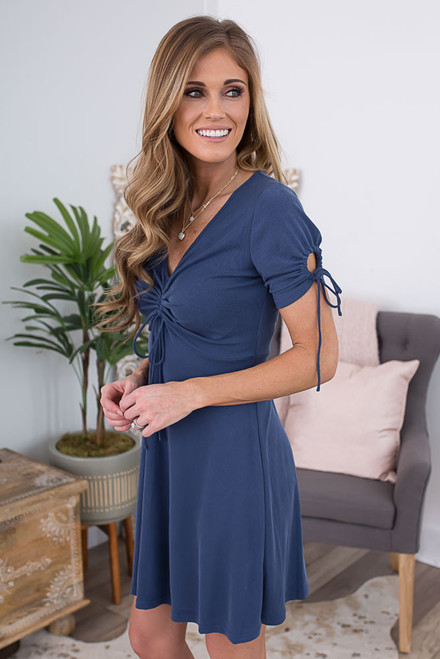 Short Sleeve Ruched Detail Dress - Faded Navy