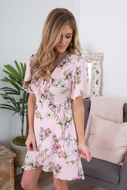 Short Sleeve Floral Wrap Dress - Light Pink Multi
