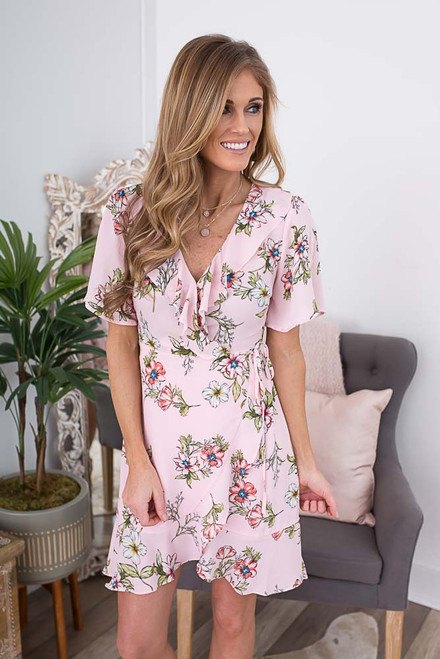 Short Sleeve Floral Wrap Dress - Light Pink Multi - FINAL SALE