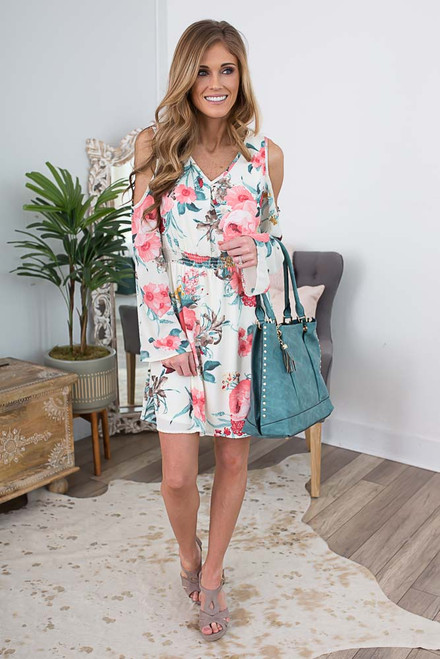 Cold Shoulder Floral Print Dress - Ivory Multi