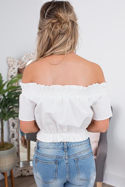 Off the Shoulder Smocked Top - Off White