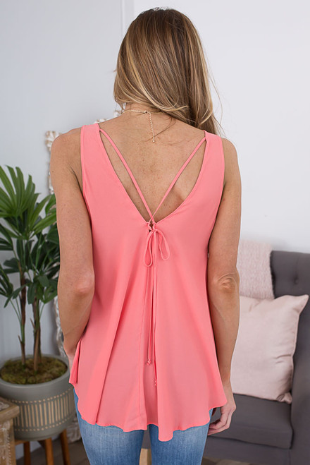 Sleeveless Tie Cross Back Top - Coral