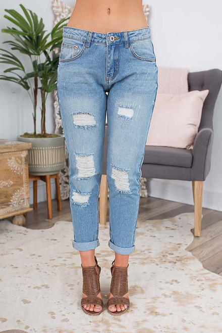 Distressed Boyfriend Jeans - Light Wash