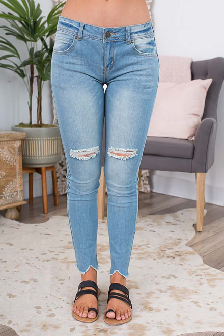 Frayed Hem Distressed Skinny Jeans - Light Wash  - FINAL SALE