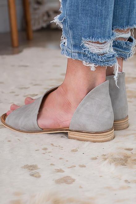 Distressed D'Orsay Open Toe Flats - Grey