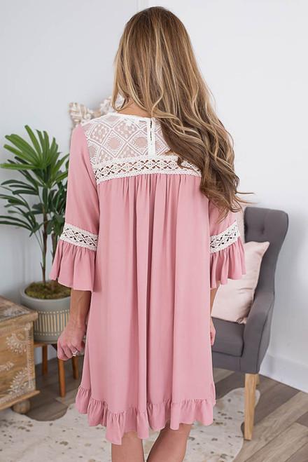 Crochet Detail Ruffle Hem Dress - Dusty Rose