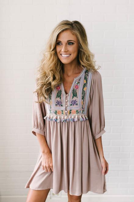 Beach House Tassel Embroidered Dress - Mocha - FINAL SALE