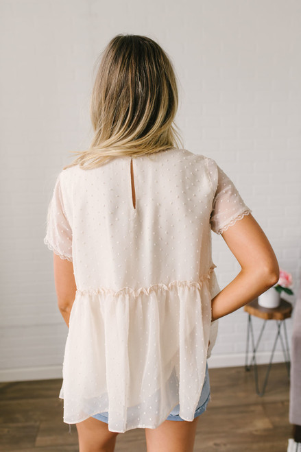 Embroidered & Dotted Babydoll Top - Cream - FINAL SALE