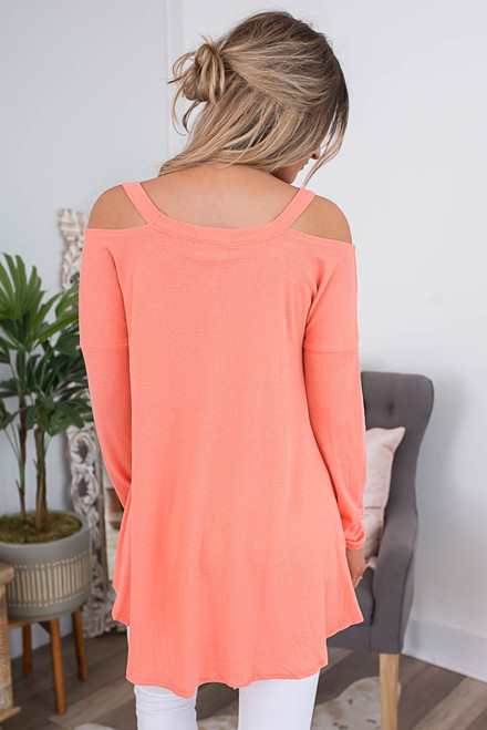 Cold Shoulder Thermal Tunic - Neon Coral