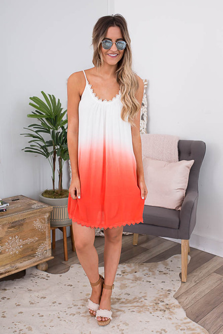Crochet Trim Ombre Dress - Off White/Coral
