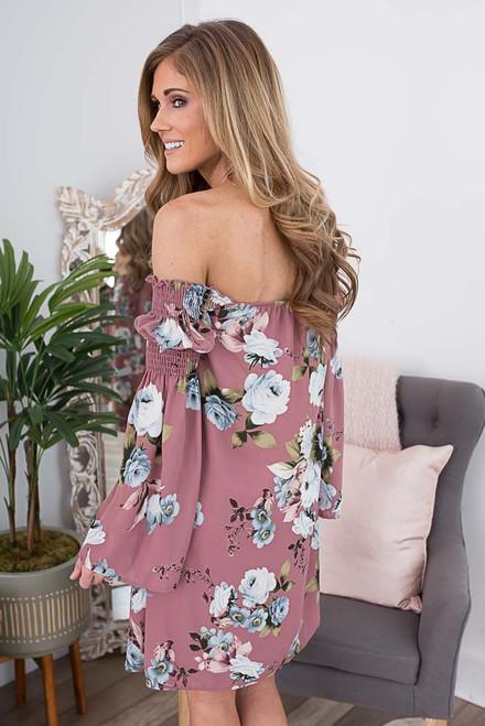 Off the Shoulder Floral Dress - Dusty Mauve