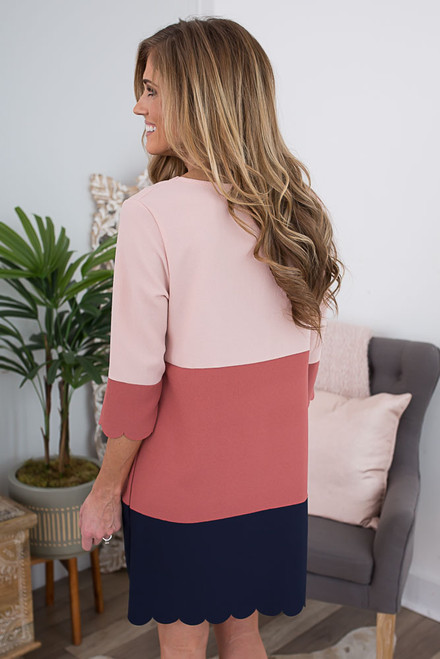 Colorblock Scalloped Shift Dress - Blush/ Rust/Navy  - FINAL SALE