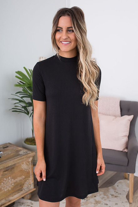 Mock Neck Keyhole Back Dress - Black
