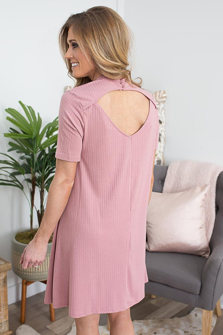 Mock Neck Keyhole Back Dress - Dusty Rose