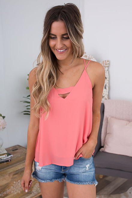 Double Strap Keyhole Tank - Coral