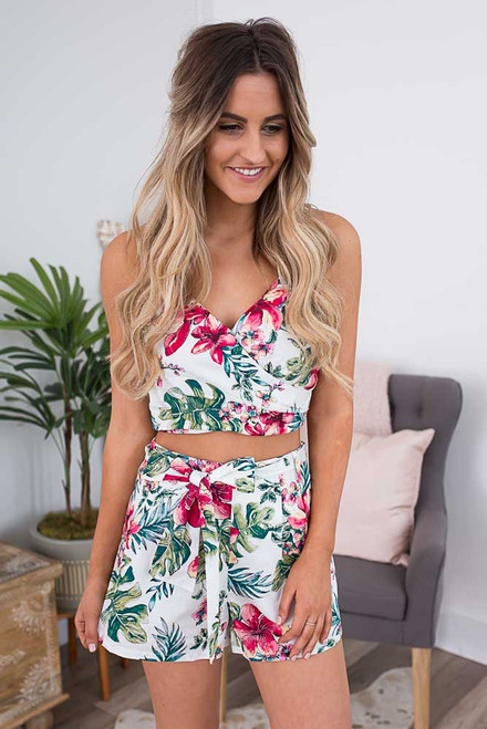 Tropical Paradise Crop Top - Off White Multi