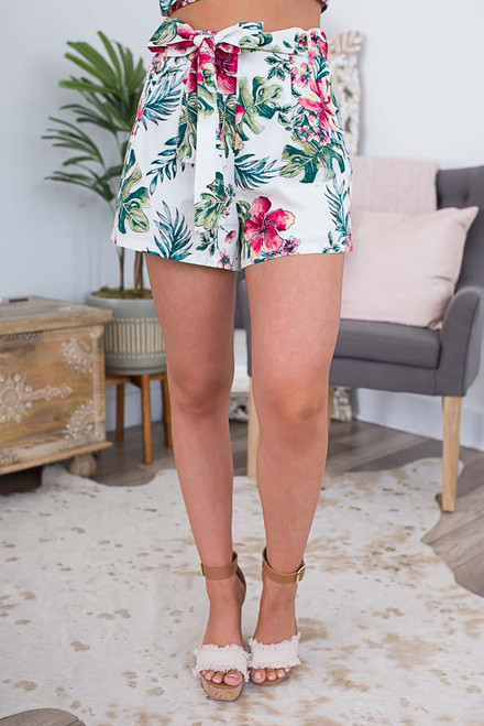 Tropical Paradise Tie Shorts - Off White Multi