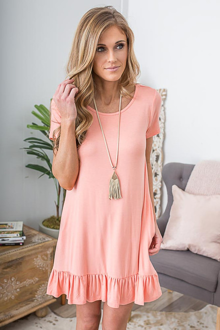 Beachy Keen Knit Dress - Peach