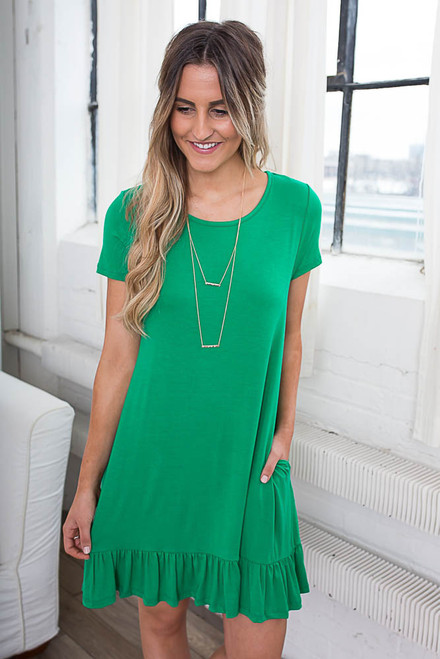 Beachy Keen Knit Dress - Kelly Green - FINAL SALE