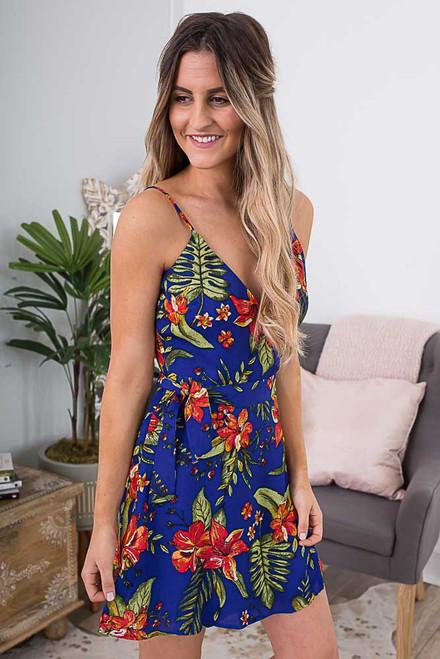 Tropical Vacation Floral Wrap Dress - Blue Multi - FINAL SALE