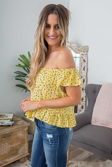Off the Shoulder Dot Top - Yellow/Navy