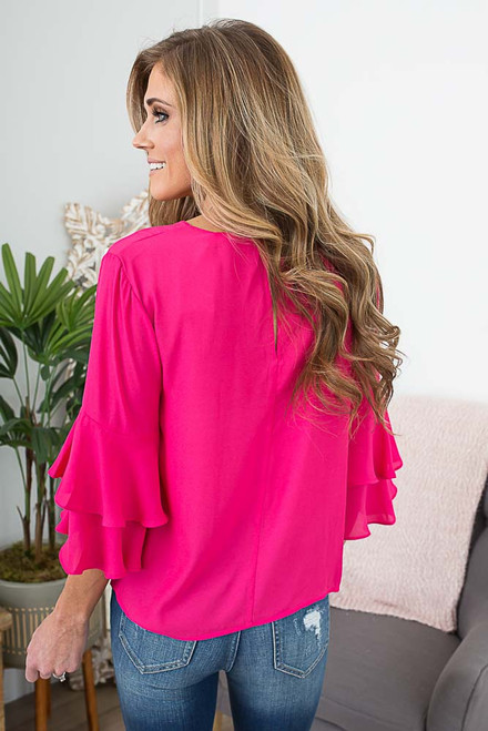 Double Ruffle Sleeve Top - Paradise Pink