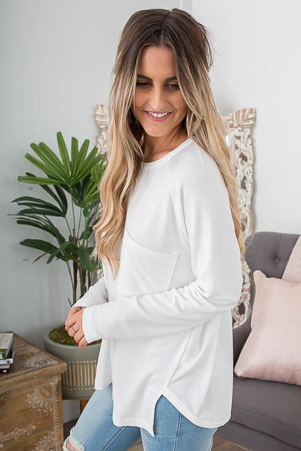 Long Sleeve Pocket Pullover - Ivory