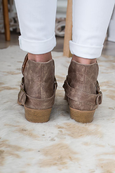 Small Town Girl Ankle Booties - Brown