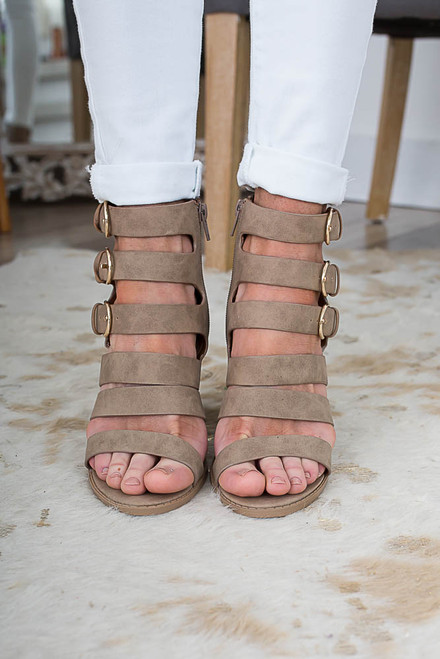 Strappy Buckle High Heel Sandals - Taupe