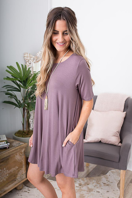 3/4 Sleeve Knit Swing Dress - Twilight Mauve