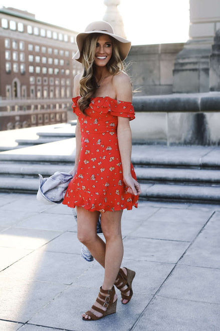 Off the Shoulder Floral Dress - Red