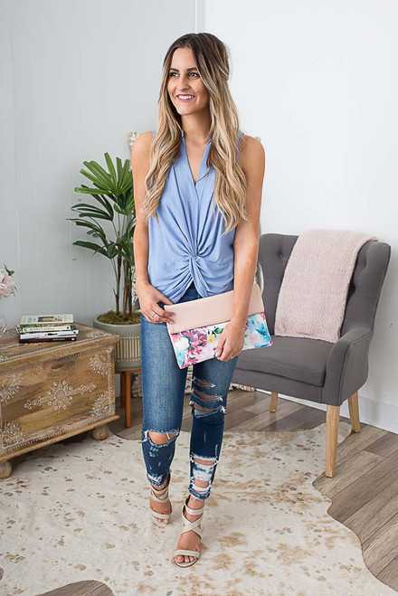 Sleeveless Knotted Top - Periwinkle