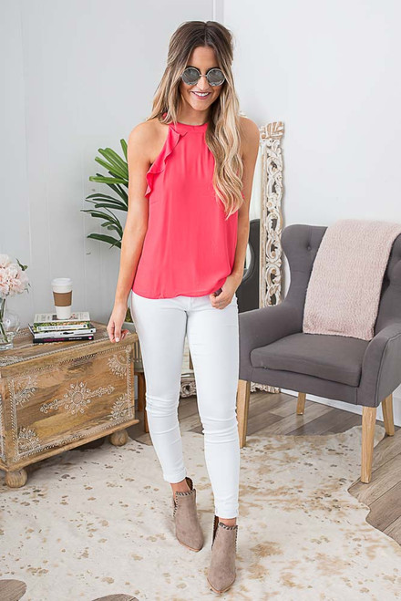 Sleeveless Ruffle Detail Top - Hot Coral  - FINAL SALE