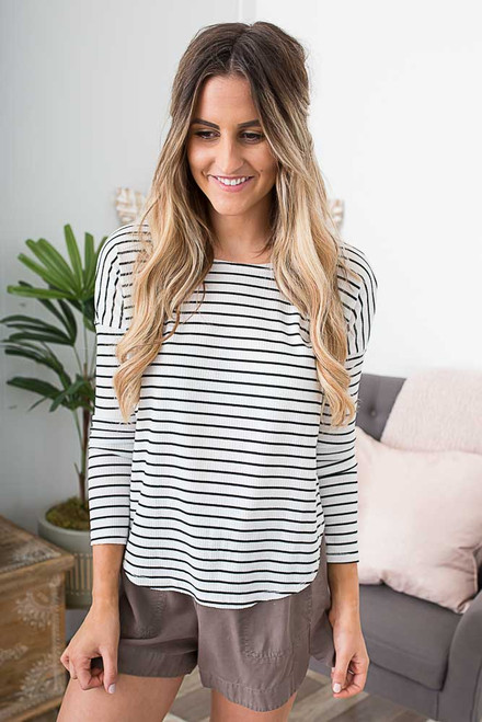 Everly Striped Ribbed Knit Top - White/Black