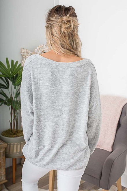 V-Neck Marbled Sweater - Heather Grey