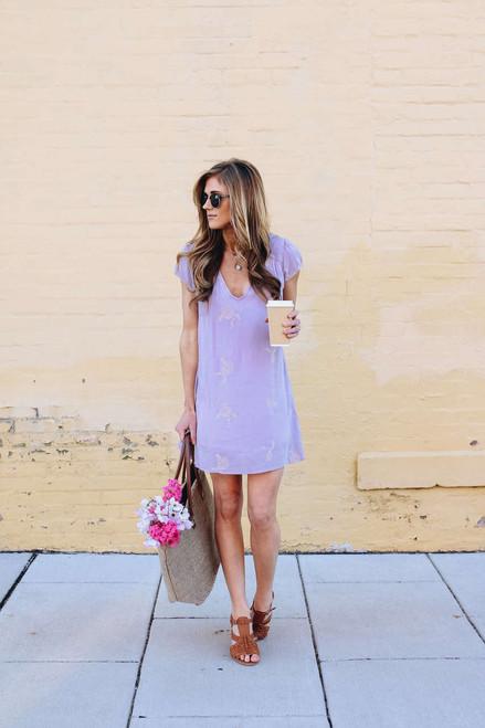 V-Neck Embroidered Dress - Lilac