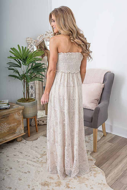 Smocked Tiered Lace Maxi - Natural