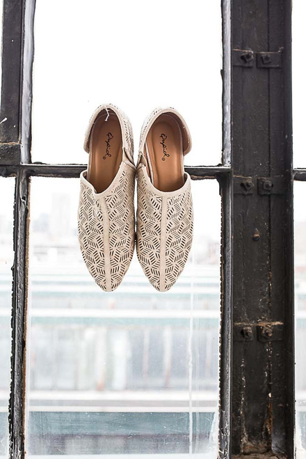 Ophelia Perforated Pointed Toe Flats - Stone - FINAL SALE
