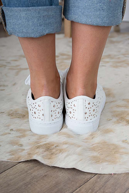 Sunny Skies Perforated Sneakers - White/Gold - FINAL SALE