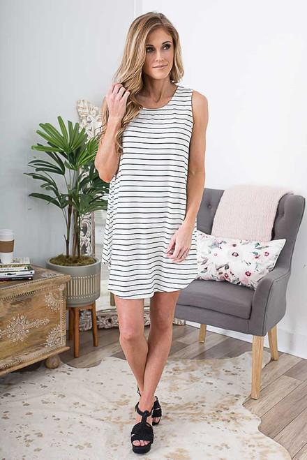 Backstage Pass Striped Knit Dress - Ivory/Black