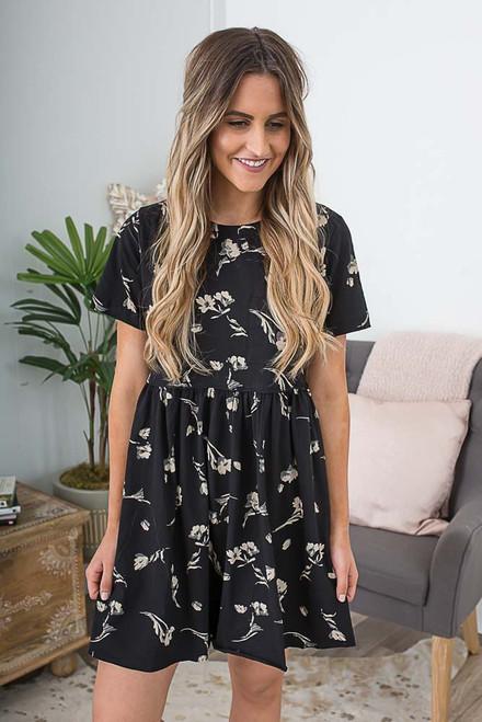 Floral Babydoll Pocket Dress - Black