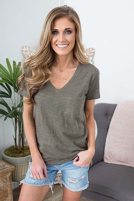 V-Neck Pocket Burnout Tee - Olive