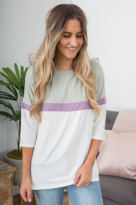 3/4 Sleeve Colorblock Top - Off White/Olive/Purple - FINAL SALE