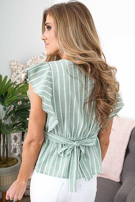 Striped Ruffle Tie Back Top - Spring Green - FINAL SALE